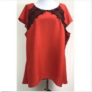 Lane Bryant Women's Blouse 18/20 2X Lace Red Black